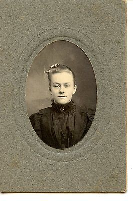 Pretty Young Girl-Pin-Brooch Jewelry-Named Maria-Vintage Cabinet Photograph