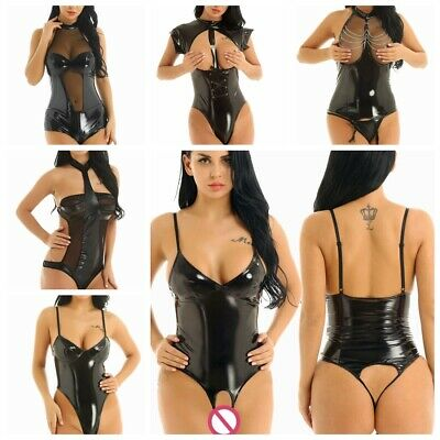 Women Wet Look Leather Backless Teddy Thong Bodysuit Catsuit Corset Top Clubwear
