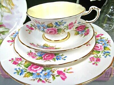 PARAGON tea cup and saucer trio & plate pink rose flower pattern teacup yellow