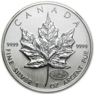 2000 1 oz Canada Silver Maple Fireworks Privy Coin (BU) in Blister Pack