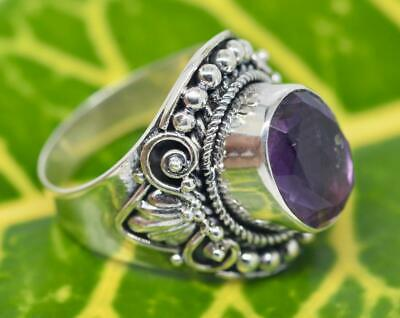 Handmade Solid Sterling Silver .925 Bali Dome Solitaire Ring w Large Amethyst.