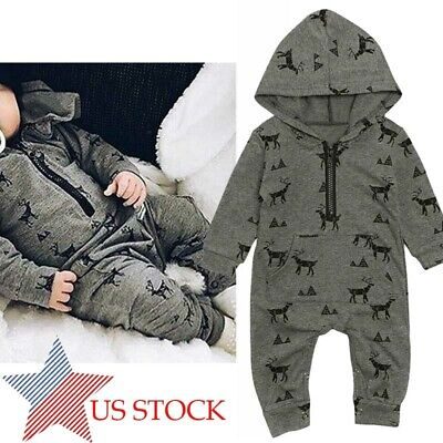 US Toddler Kids Baby Boy Girl Tops Hooded Romper Jumpsuit Zipper Outfits Clothes