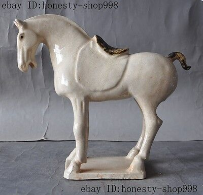 Collect China Dynasty Old porcelain Zodiac Tang Horse Horses animal Sculpture