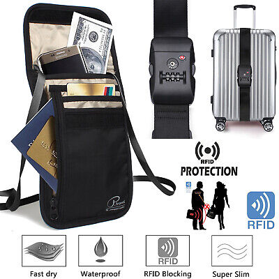 RFID Passport Holder Neck Shoulder Document Bag+6FT Suitcase Strap TSA Lock Belt