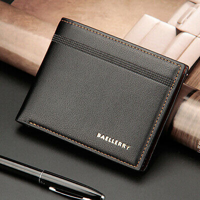 Mens Black Leather Wallet Pocket ID Card Money Holder Clutch Bifold Slim Purse