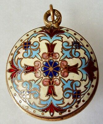Large Antique French Enamel Chatelaine Gilt Brass Locket Pendant
