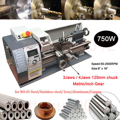 Upgrade 750W Mini Metal Lathe Metric/inch Stainless Steel Processing Bench Top