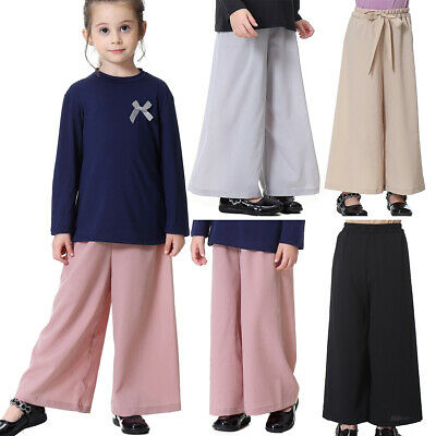 Summer Kids Girls Wide Leg Pants High Waist Elastic Trousers Solid Color Slacks
