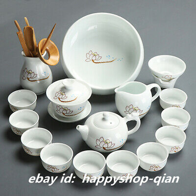 Chinese Ceramics White Porcelain Lotus Tea Set Handmade Gongfu TeaPot Tea Cups