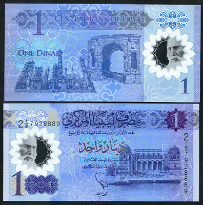 Libya 1 Dinar 2019 P-81 UNC POLYMER CURRENCY BANKNOTE  AFRICA BILL