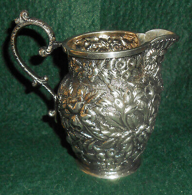 Antique Small Sterling Cream Pitcher c.1890s Baltimore Repousse w/ Mask Spout