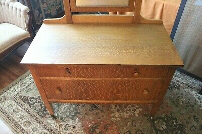Antique Mission Style Tiger Oak Dresser with Quarter Sawn Top & Tilting Mirror