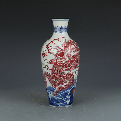 Chinese antique Qing Blue and white Glazed red Dragon pattern Porcelain Vase