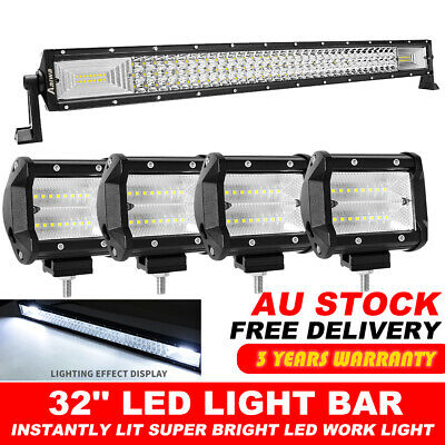 """50 inch CREE LED Light Bar Curved Spot Flood Combo Work Driving Lamp & 4"""" Pods"""