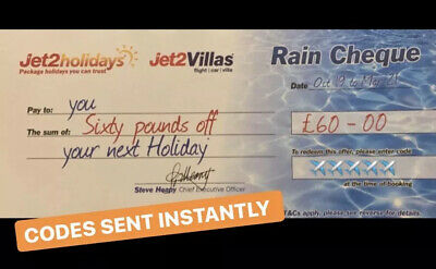 10 X Jet2Holidays £60 Rain Cheque voucher Valid until March 2020 NEW CODES