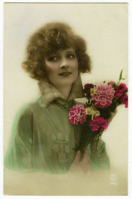 1920's Lovely French Deco BEAUTIFUL LADY antique tinted photo postcard