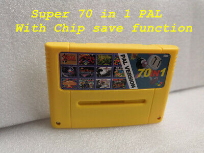 Super 70 in 1 PAL SNES Multi Cart Game Cartridge with Chip Save Function-English