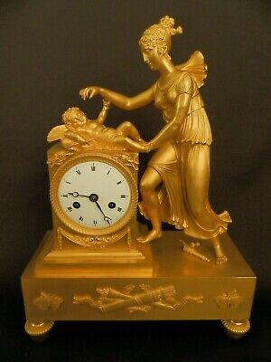 Antique French Empire Gilt Bronze Clock with Allegory of Love c1820