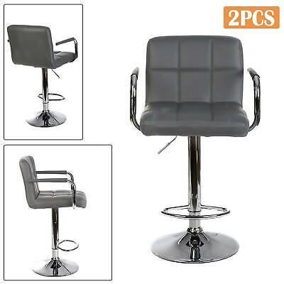 2 × Bar Stools Leather Chair Breakfast Chairs Swivel Gas Lift Kitchen Cushioned
