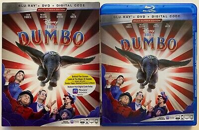 Disney Dumbo 2019 Blu Ray Dvd 2 Disc Set + Slipcover Sleeve Free World Shipping