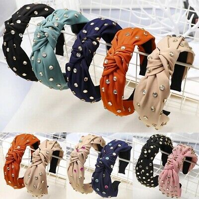 Women's Tie Headband Hairband Twist Crystal Knot Hair Bands Hoop Accessories