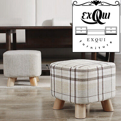 Upholstered Footstool Linen Cover Stool Ottoman Square Pouffe Stool Wooden Leg