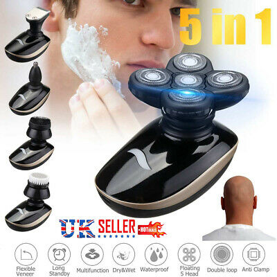 5 In 1 4D Mens Electric Razor Bald Head Shaver Rechargeable Waterproof Trimmer