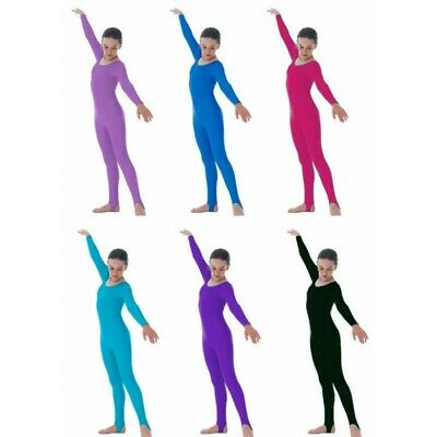 Girls Shiny Nylon Lycra Stirrup foot Long Sleeve Catsuit-Kids Dance, Gymnastics