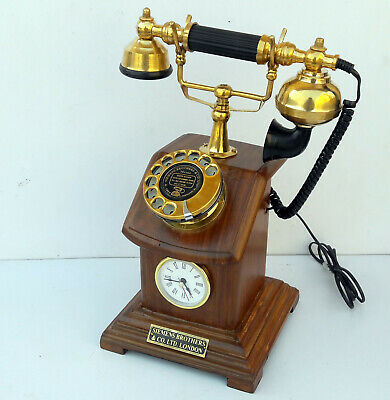 Royal Antique Old Style Wooden Carving Décor Working Telephone With Clock Gift