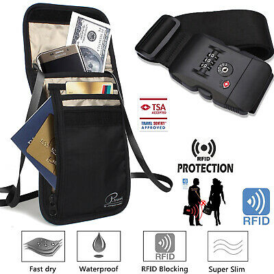 RFID Neck Wallet/Passport Holder/Neck Stash+Luggage Strap TSA Approved Lock Belt