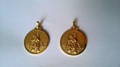 2x Gold plated St. Christopher pendants