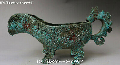 """10"""" Old Chnese Ancient Bronze Ware Dragon Loong Pixiu Beast Head Cup Cups Statue"""