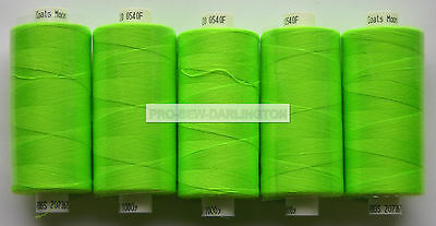5 X REELS NEON GREEN MOON POLYESTER SEWING THREAD COTTON 120s