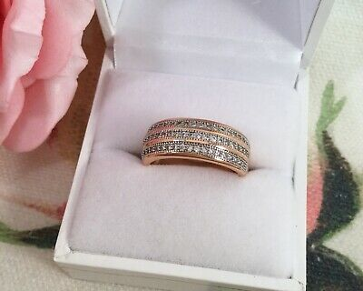 Vintage Jewelry Gold Ring with White Sapphires Antique Art Deco Jewellery size N