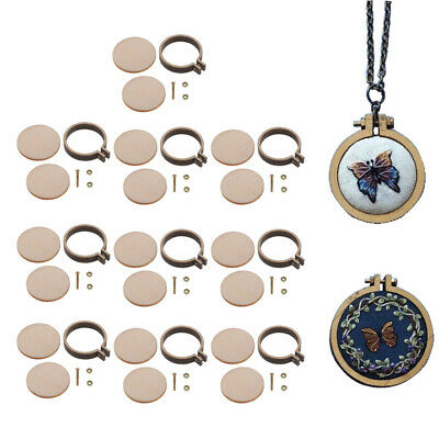 10pcs Mini Wooden Cross Stitch Hoop Embroidery Circle Frame Pendant Making