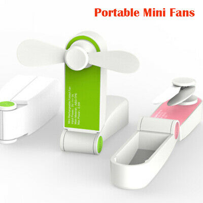 Summer Rechargeable Portable Mini Fan Handheld Personal USB Battery Pink Green
