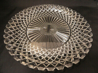 "Elegant Vintage CRYSTAL Round Cut Glass Serving PLATTER Dish Tray 14"" S1-17"