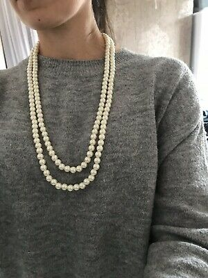 "56"" Long Length Rope Faux Pearl Round Necklace Statement Vintage Flapper 1920s"