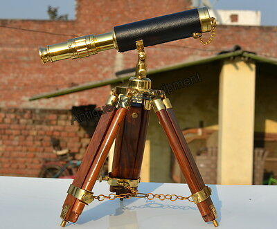 """Vintage brass maritime telescope 10"""" monocular leather with wooden tripod stand"""