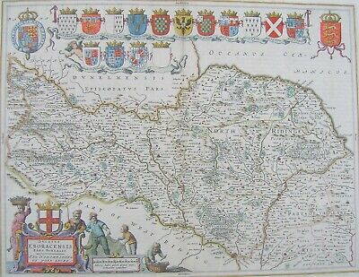 Yorkshire North Riding: antique map by Johan Blaeu, 1645 (1648 edition)