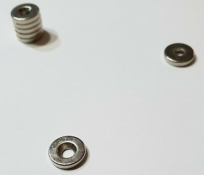 10 Magneti (neodimio 10 x 2 mm foro centrale 3mm Totale 1kg N42)