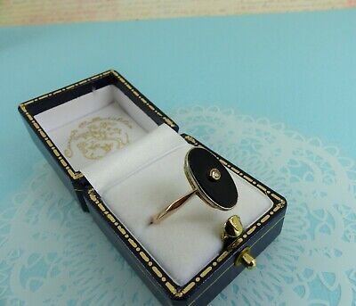 Antique Victorian 9ct Gold Onyx and Diamond Mourning Ring