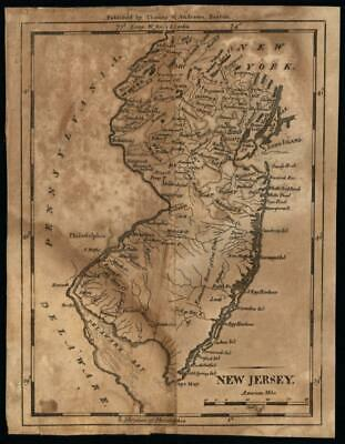 New Jersey 1797 scarce state map Hill engraved Wheat & Brun #417