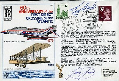 1st Crossing of the Atlantic crew Alcock & Brown signed RAF cover