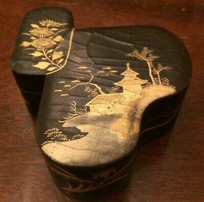 Japanese Meiji lacquer box of unusual form