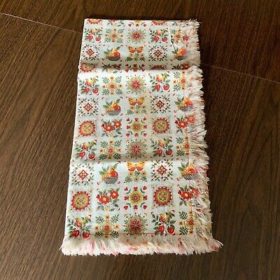 Vintage White Orange Yellow Green Fruit Flowers Tablecloth Pretty 33 X 33 AS IS