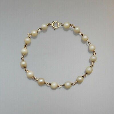 Vintage Cultured Pearl and 14K Gold Chain Bracelet Fine Estate Jewelry