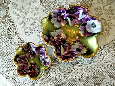 (2) Vintage Hand Painted Decorated Bowls - Purple Flowers And Gold