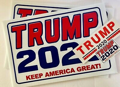 3 Trump 2020... Campaign...KEEP AMERICA GREAT!..Yard Signs + 4 Decals
