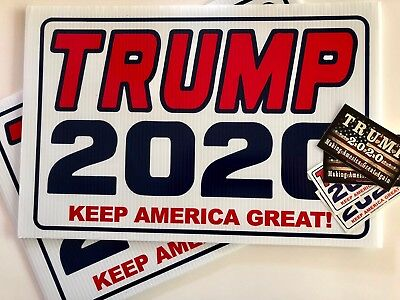 2 Trump 2020...KEEP AMERICA GREAT!.. Campaign...Yard Signs + 2 Decals